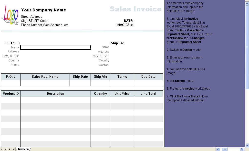 General Sales Invoice Template Uniform Invoice Software - General invoice template