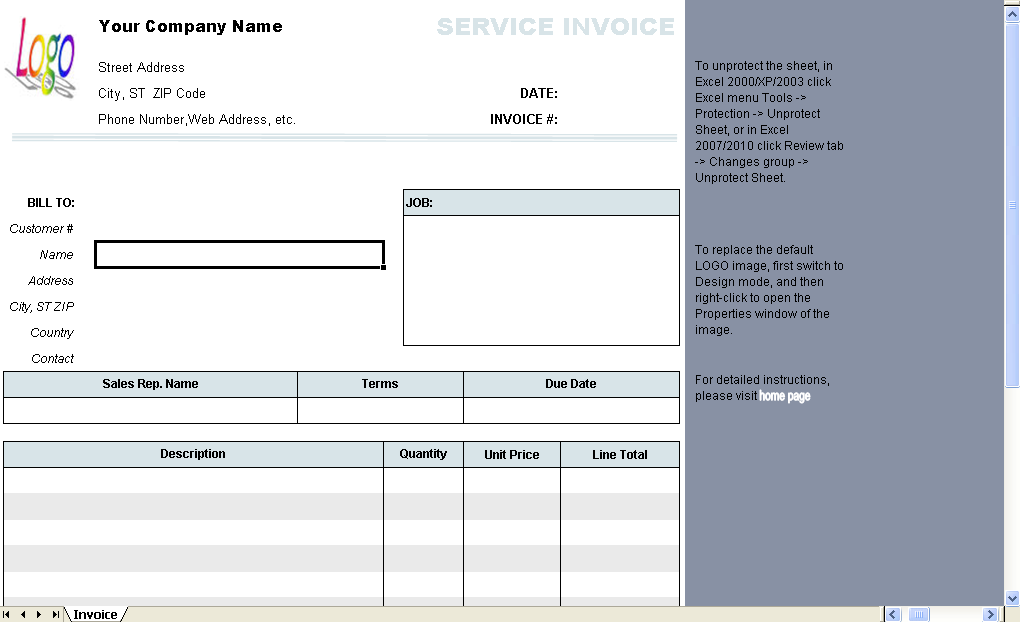 General Service Invoice Template Uniform Invoice Software - Service invoice template
