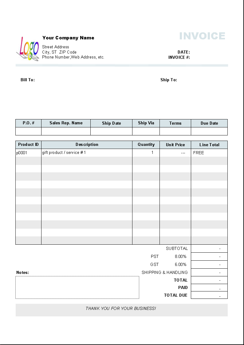 Show Word U0027Freeu0027 For Gifts  Invoice Format In Excel