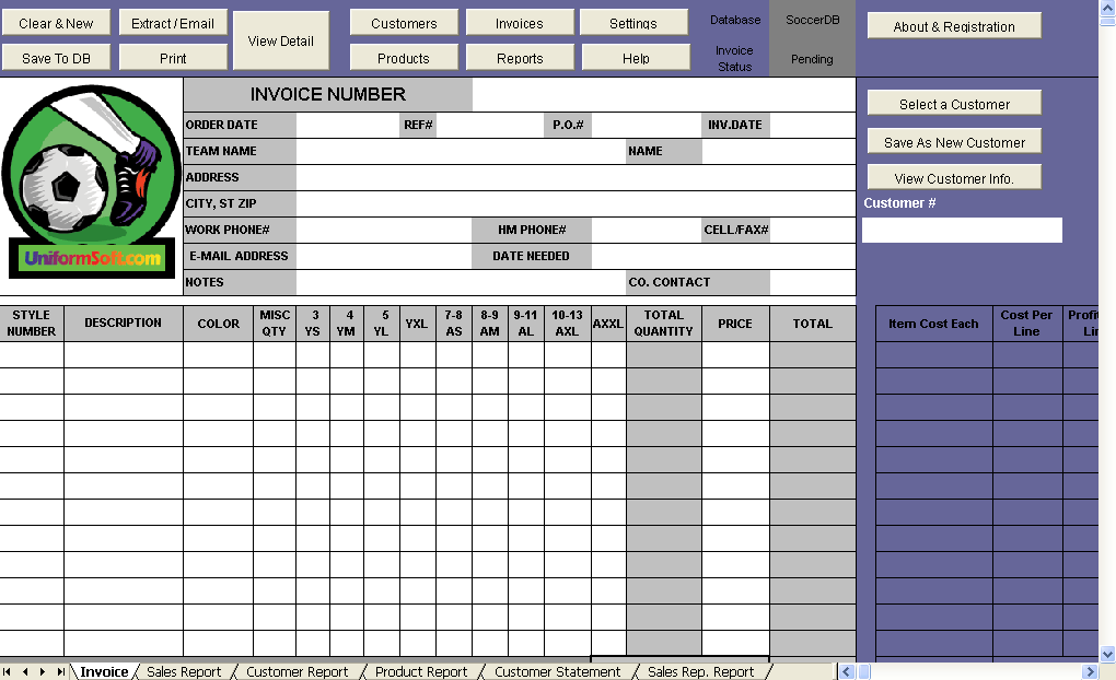 Soccer Store Billing Format - Uniform Invoice Software edition