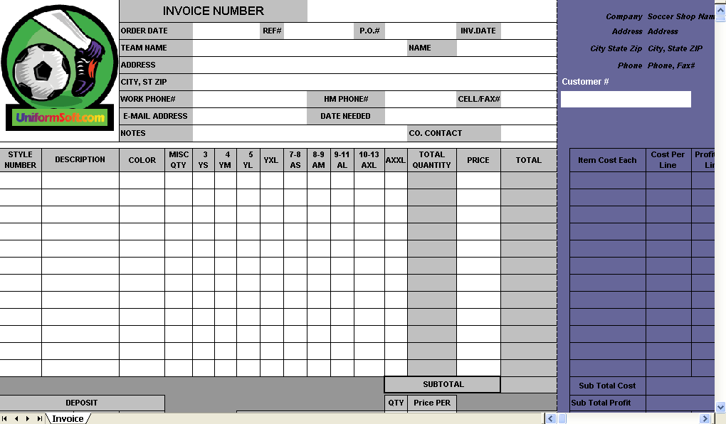 Soccer Shop Invoice Template Uniform Invoice Software