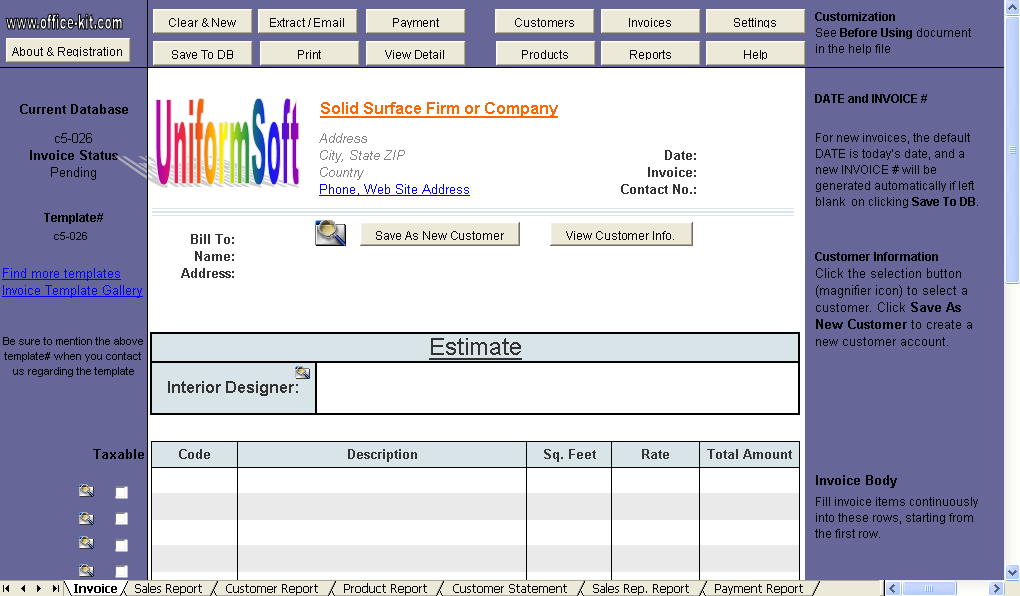 Solid Surface Firm Estimate Template