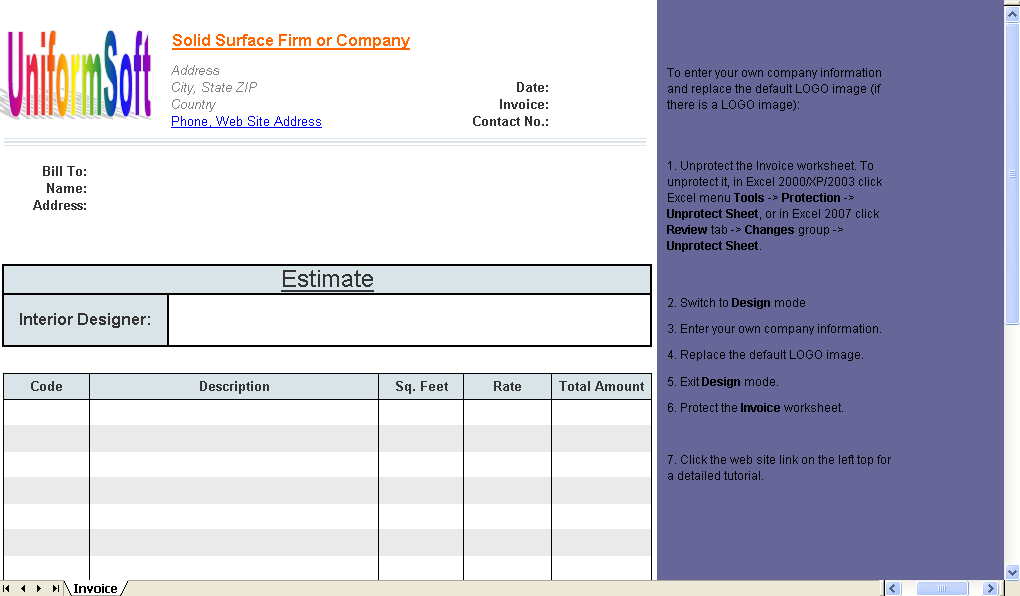 Solid Surface Firm Estimate Template - Excel worksheet