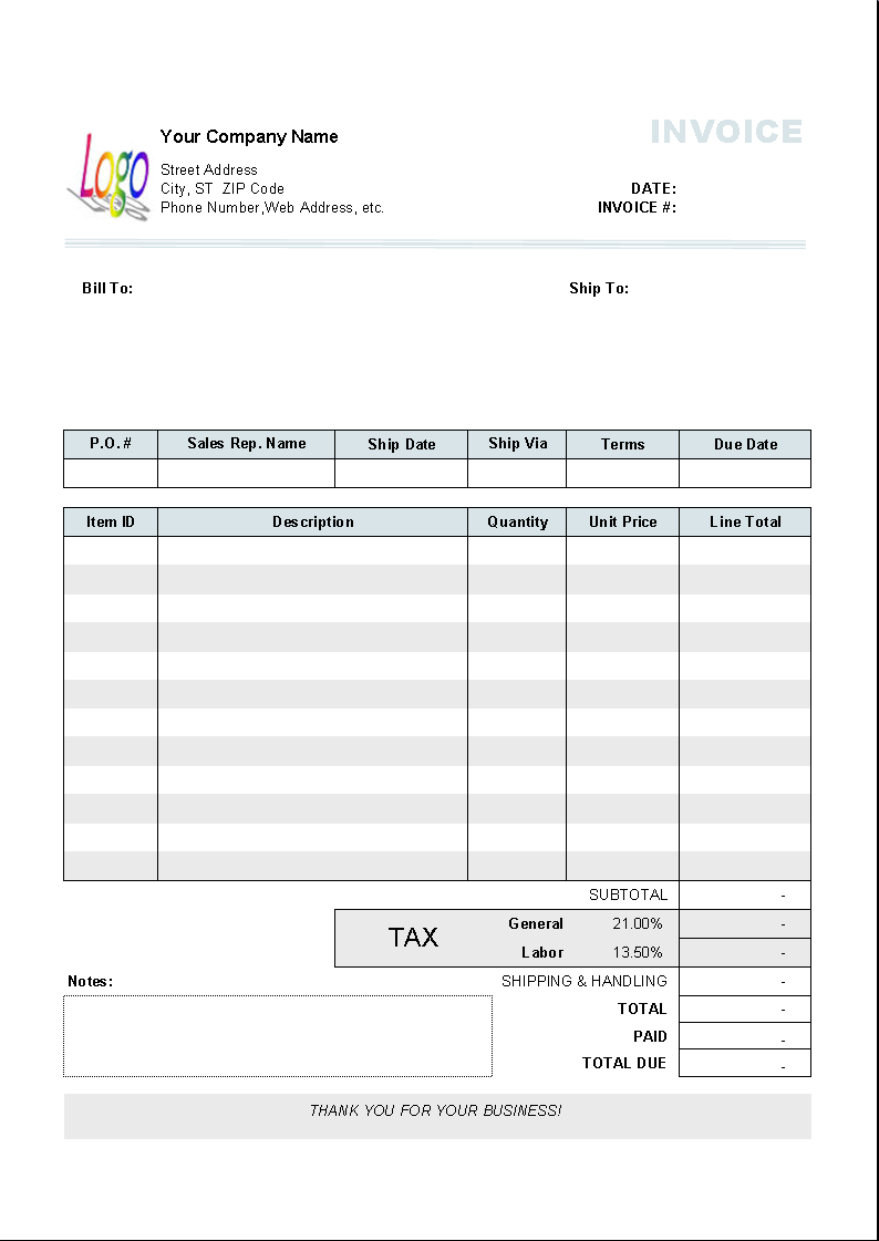 computer service invoice template for uniform different tax rate per item type