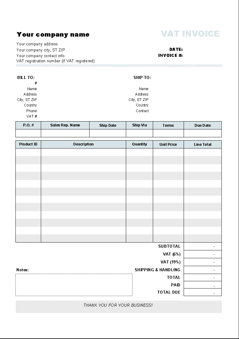 Template with 2 VAT Rates - printed document