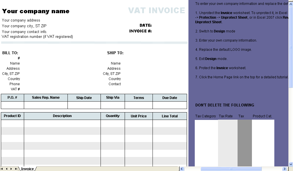 Template with 2 VAT Rates - Excel worksheet