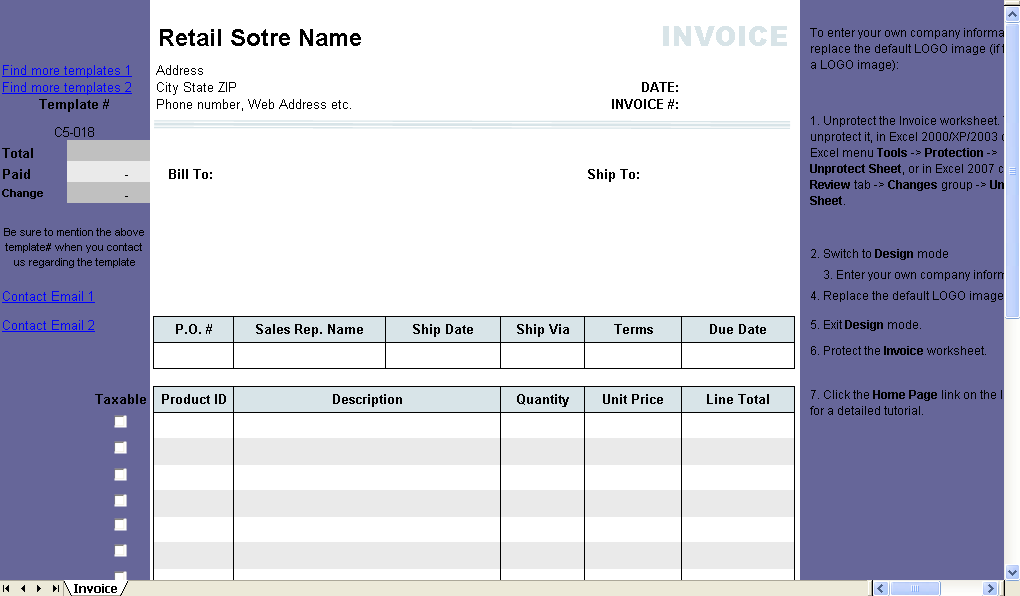 Invoice Template with Change Calculation - freeware edition
