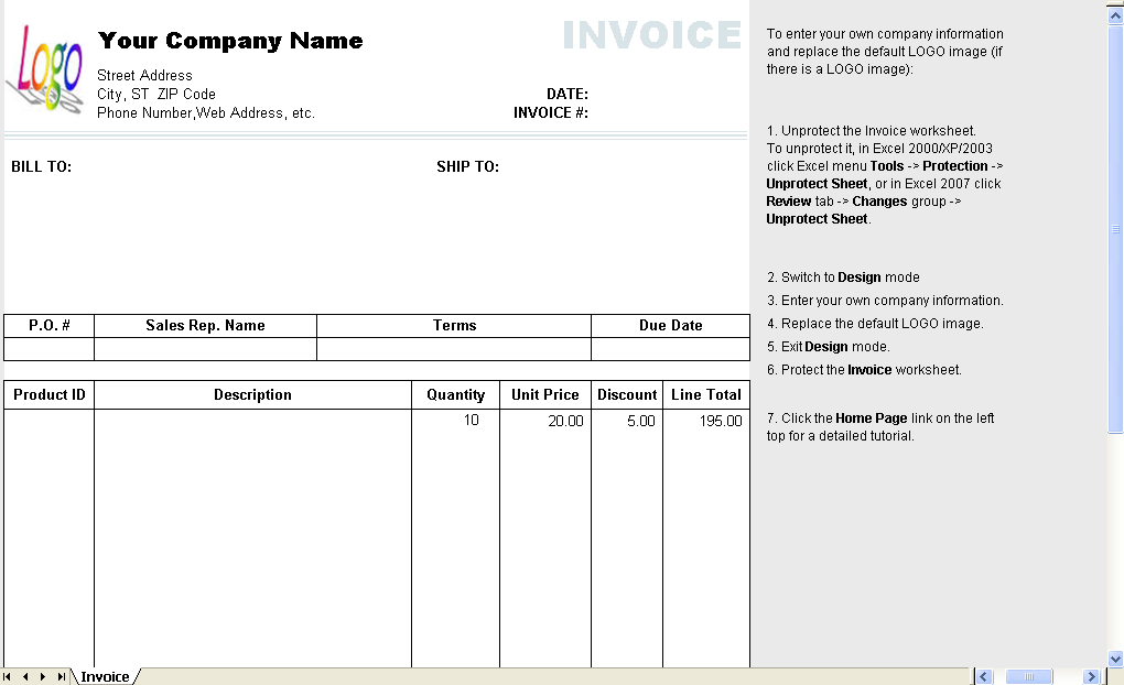 invoice with discount template