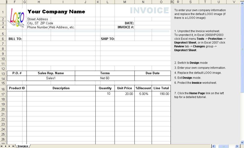 Invoice Template Excel 2003