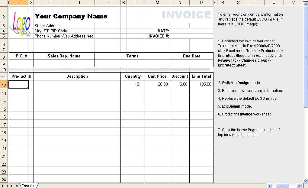 Template with Discount Column without Client - freeware edition