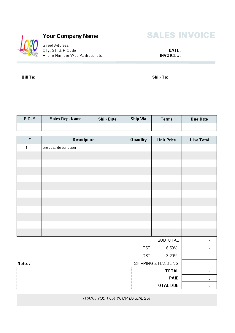 Service invoice template for consultants and service providers.