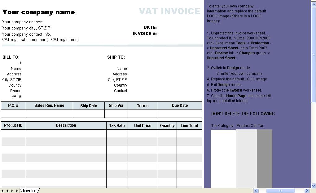 vat template