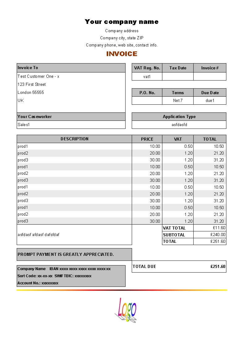 download vat invoice price including tax for free uniform