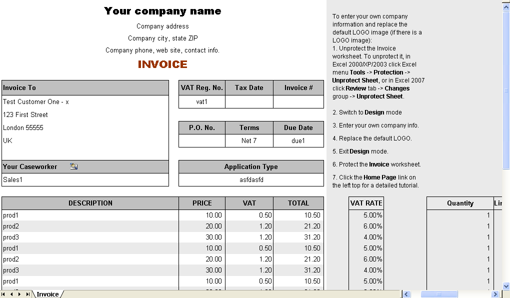 Vat Service Invoice Form Uniform Invoice Software