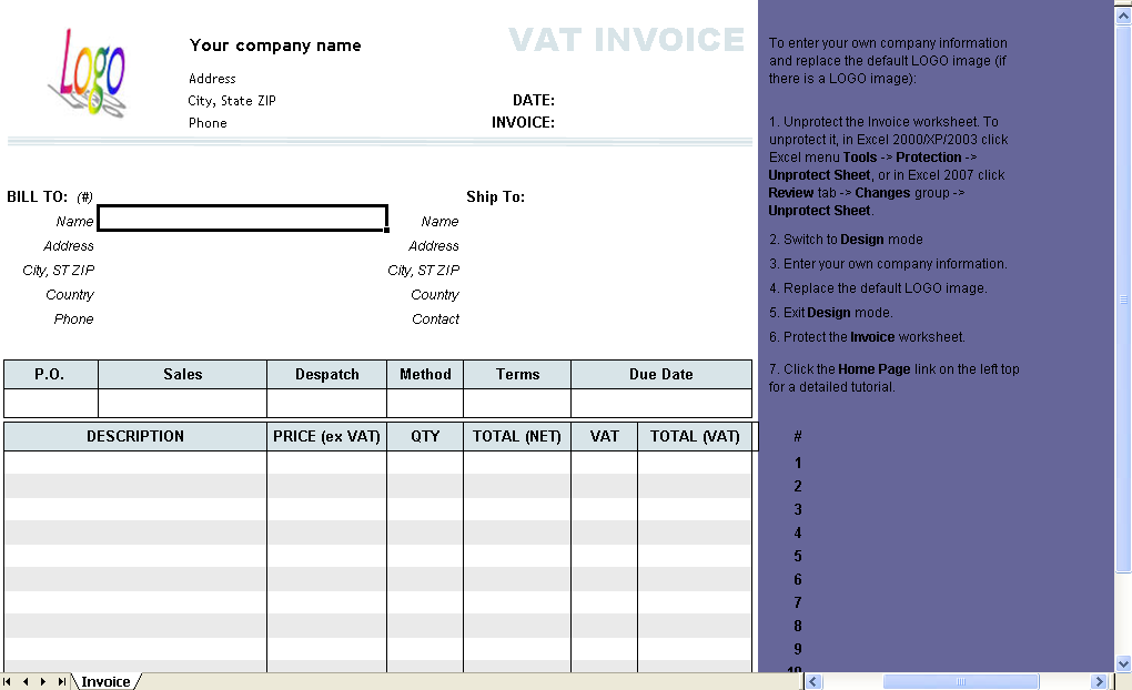 VAT Invoice (Price Excluding Tax) - freeware edition