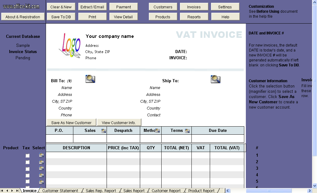 VAT Invoice (Price including Tax) - Uniform Invoice Software edition