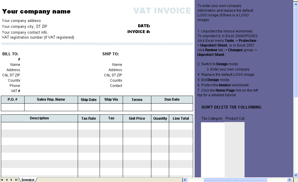 Template with VAT Rate and Amount Columns - Excel worksheet