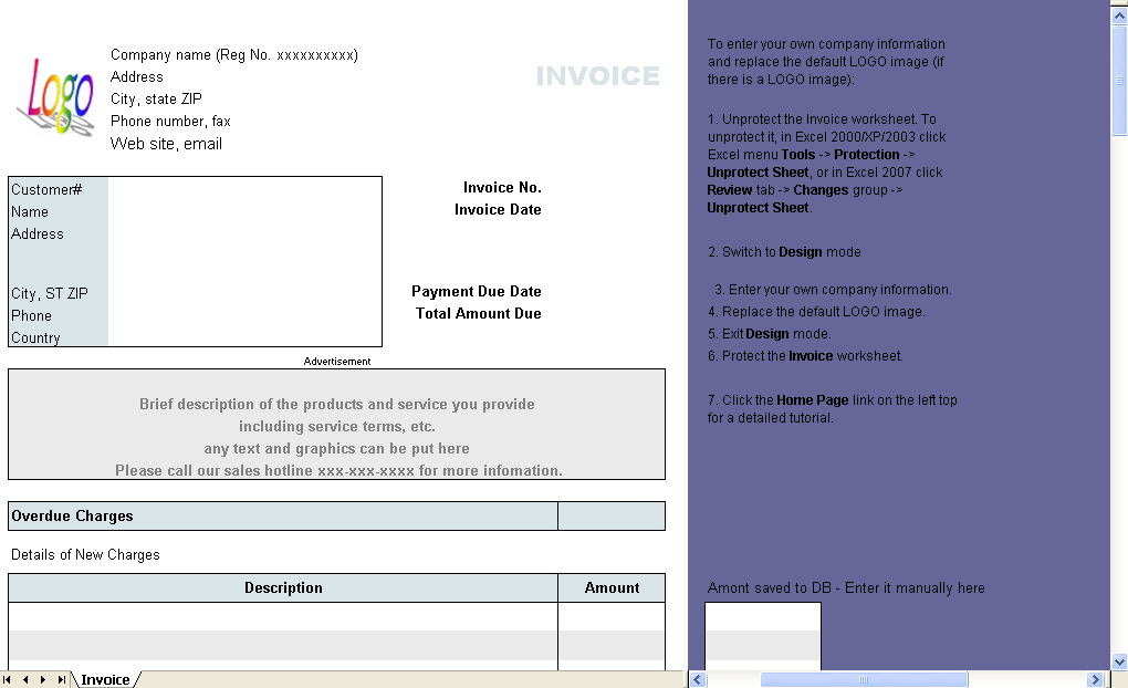 Web Hosting Invoice Form   Excel Worksheet  Invoice Form Excel