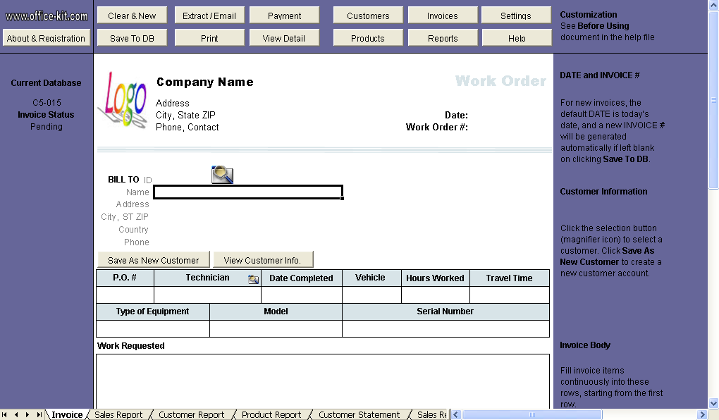 Work Order Template - Uniform Invoice Software